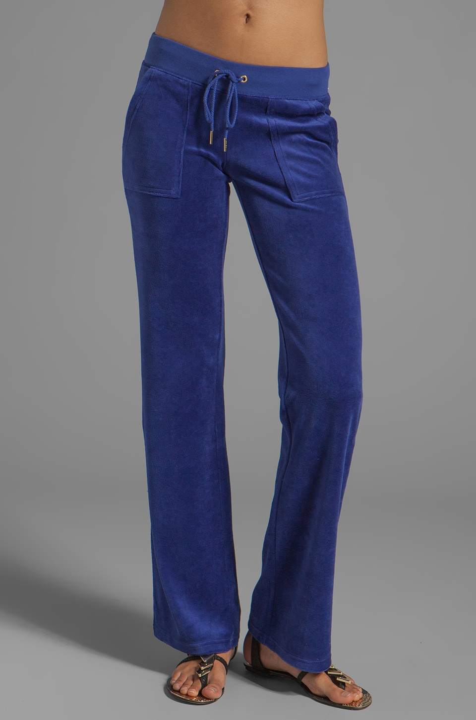 Juicy Couture Velour Blind Bootcut Pant in Dark Cobalt