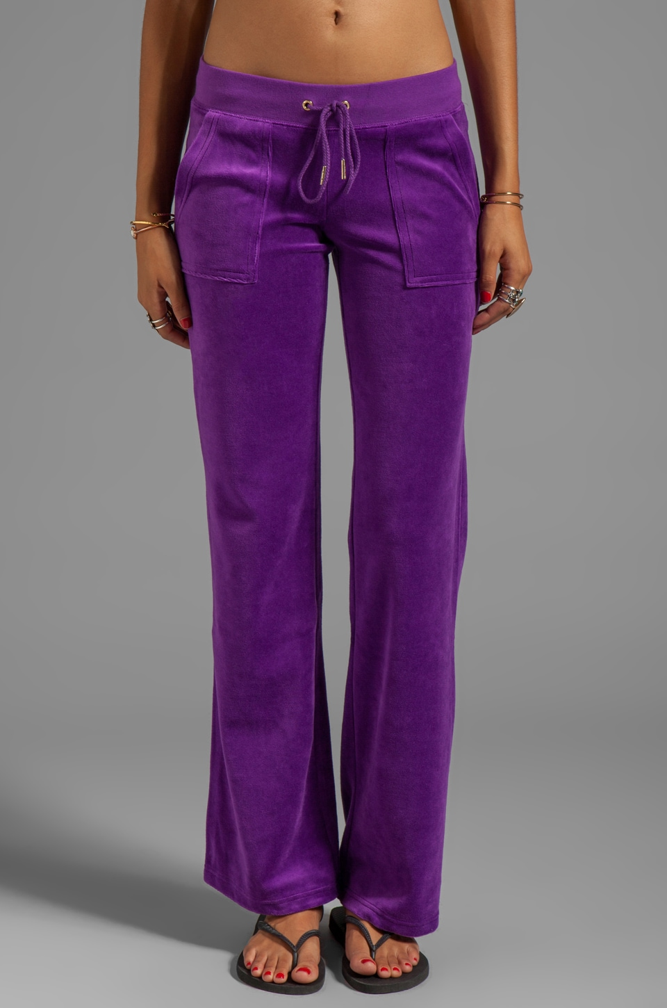 Juicy Couture Velour J Bling Bootcut Sweatpant in Deep Orchid