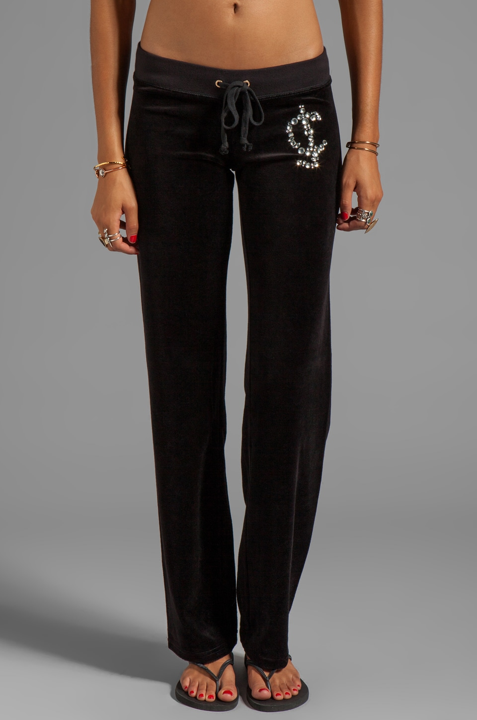 Juicy Couture Velour Juicy Rocks Pant in Black