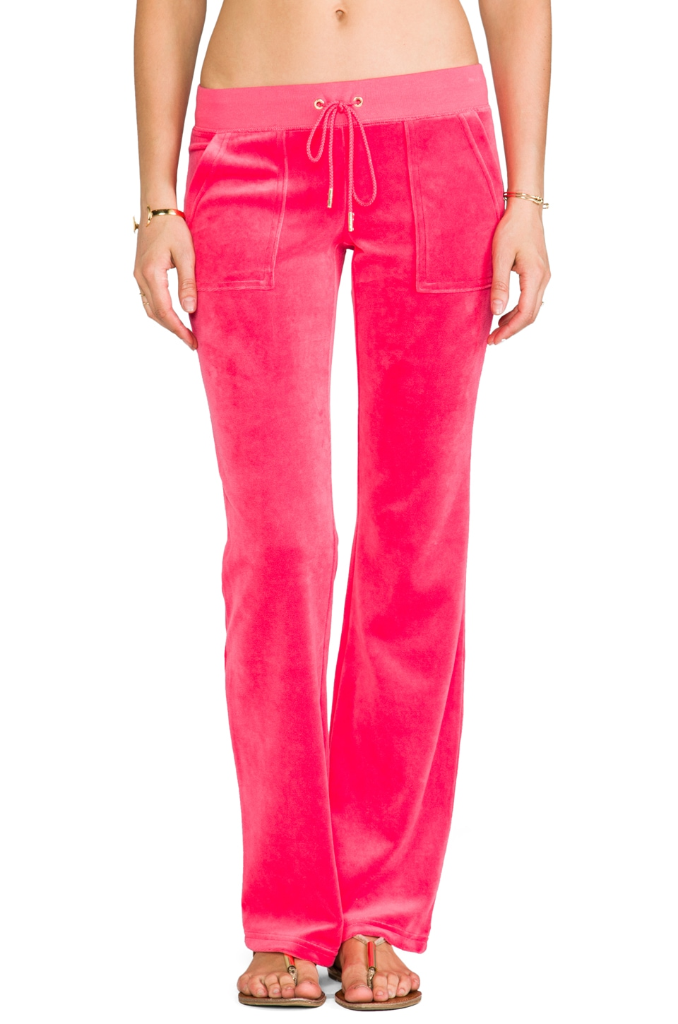 Juicy Couture J Bling Velour Bootcut Pant in Geranium