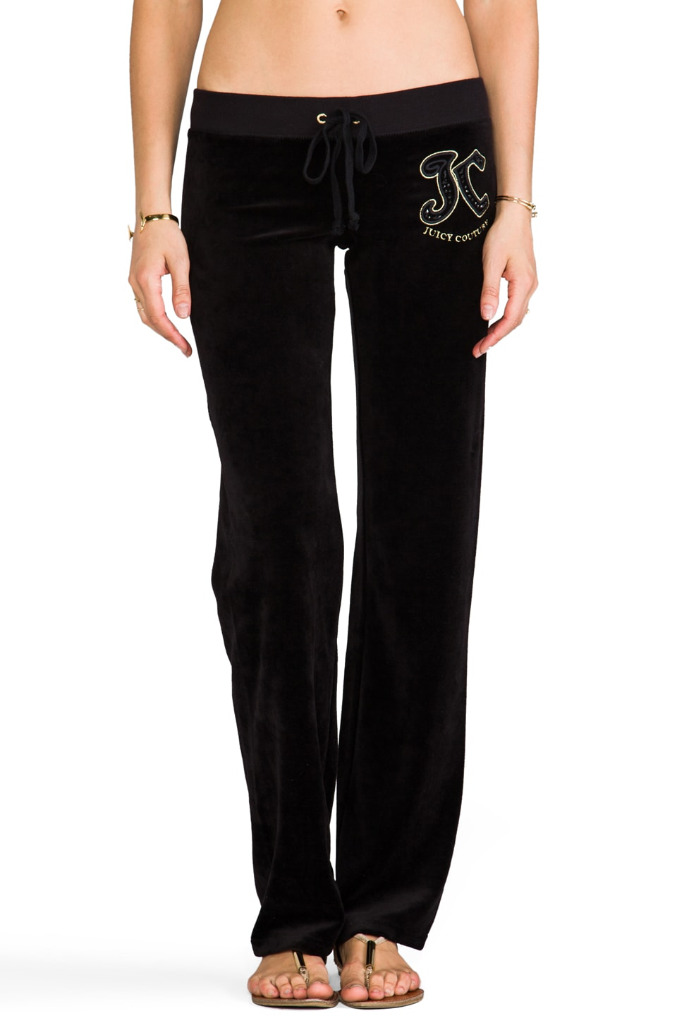 Juicy Couture Paisley Velour Pant in Black