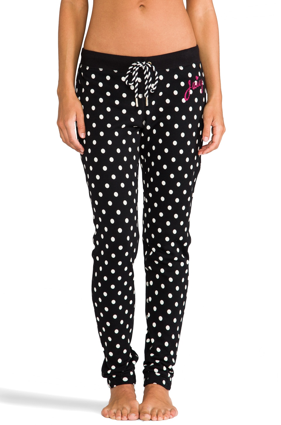 Juicy Couture Polka Dot French Terry Pant in Black/Angel Preppy