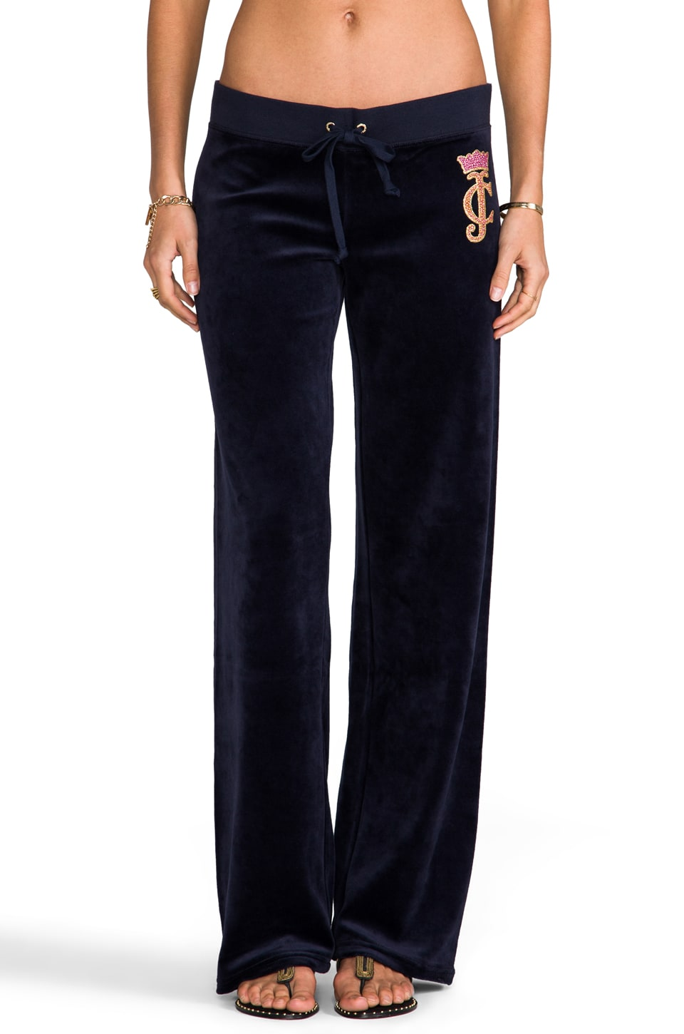 Juicy Couture Crown Cameo Velour Pant in Regal