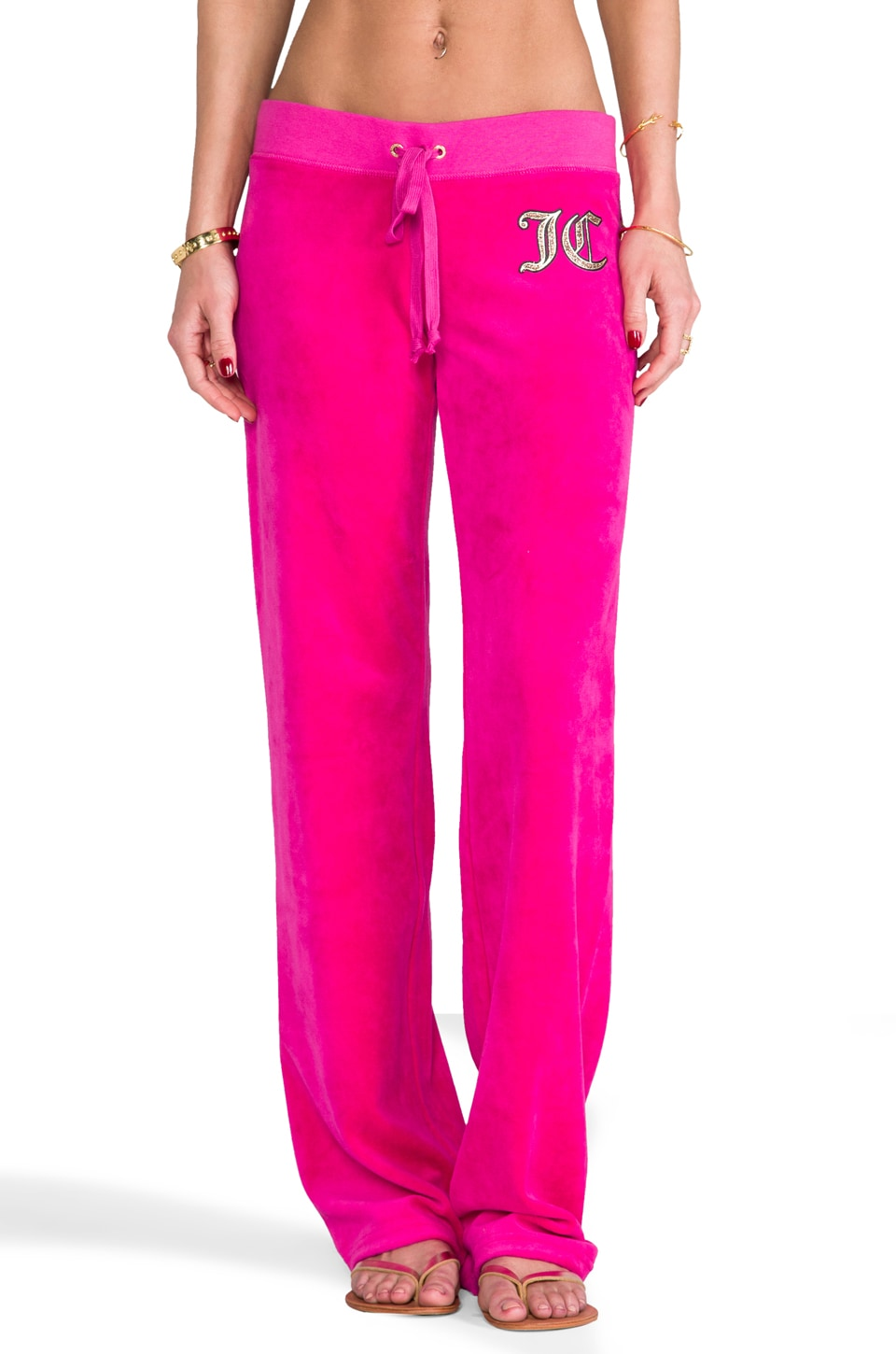 Juicy Couture Overgrown Velour Pant in Cashmere Rose