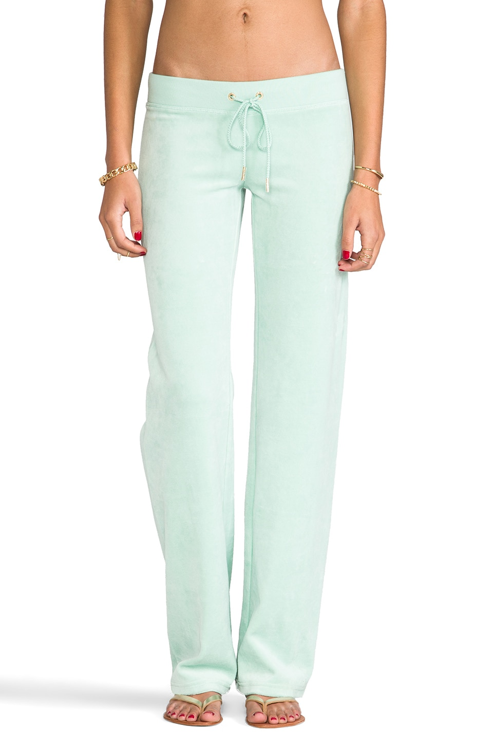Juicy Couture Velour Original Leg Pant in Aqua Glass