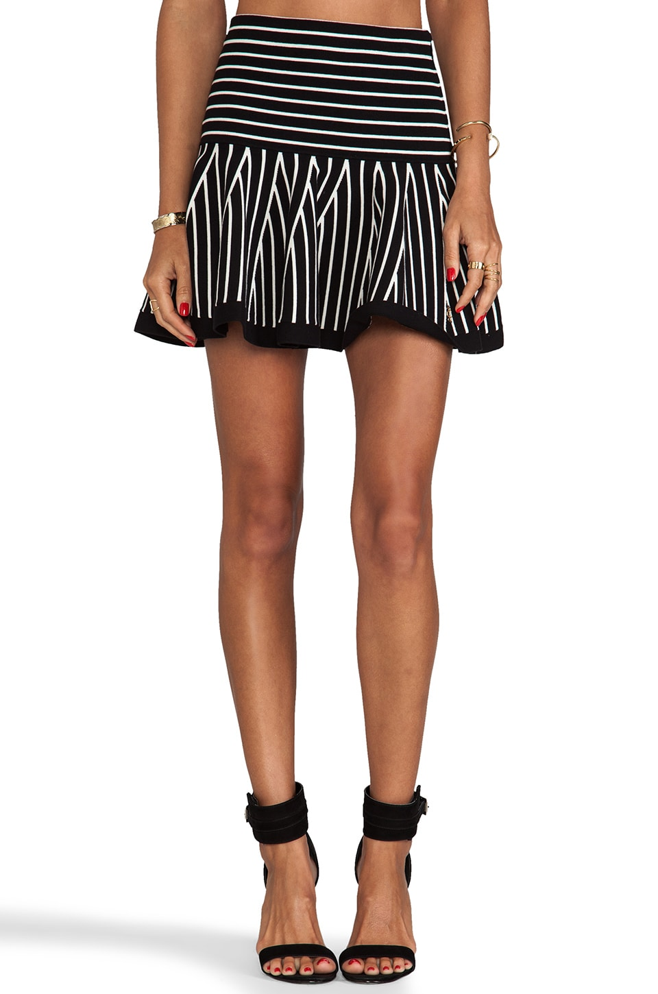Juicy Couture Flounce Skirt w/ Stripes in Black & Angel