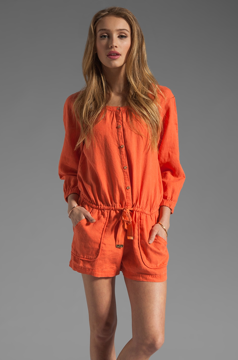 Juicy Couture Beach Linen Romper in Coral Gloss