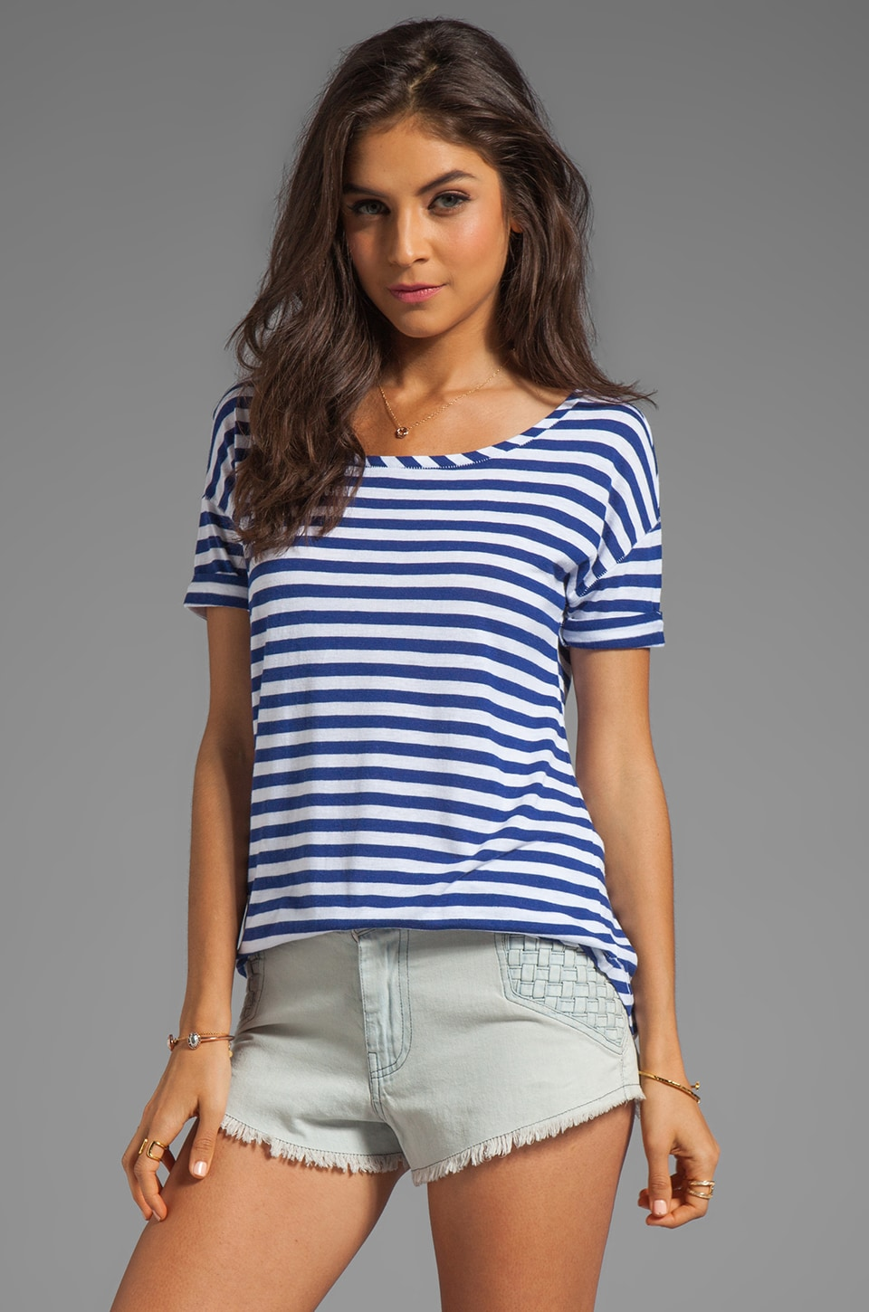 Juicy Couture Stripe Malibu Tee in Dark Cobalt/White