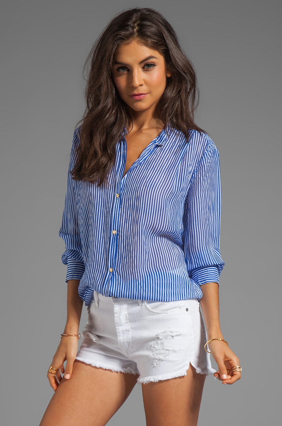 Juicy Couture Moonlight Stripe Blouse in Bright Azure/White