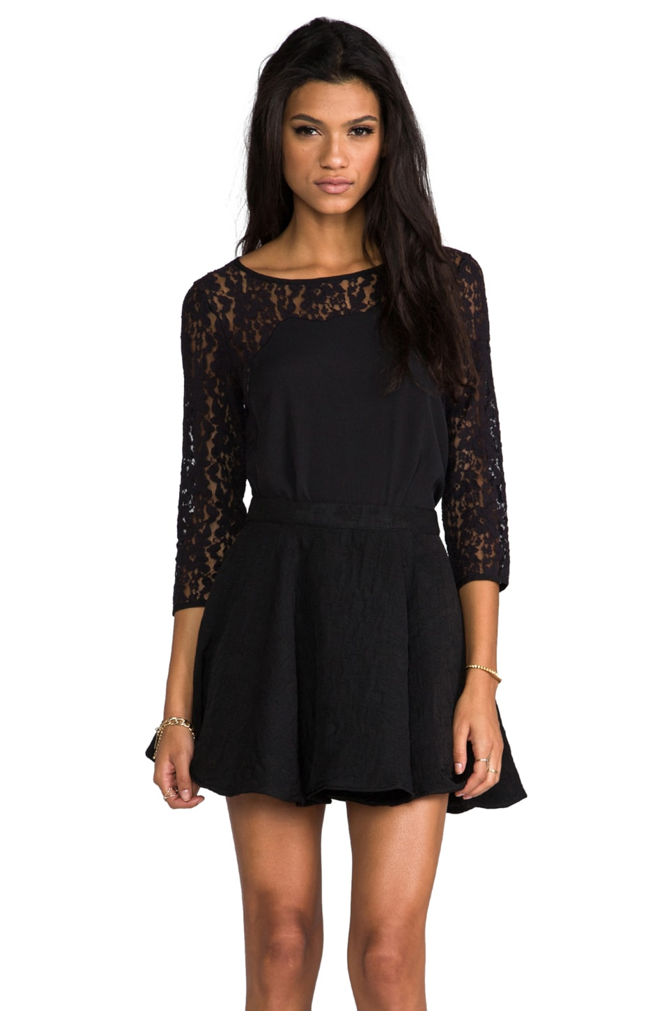 Juicy Couture Fabric Mix Lace Top in Black