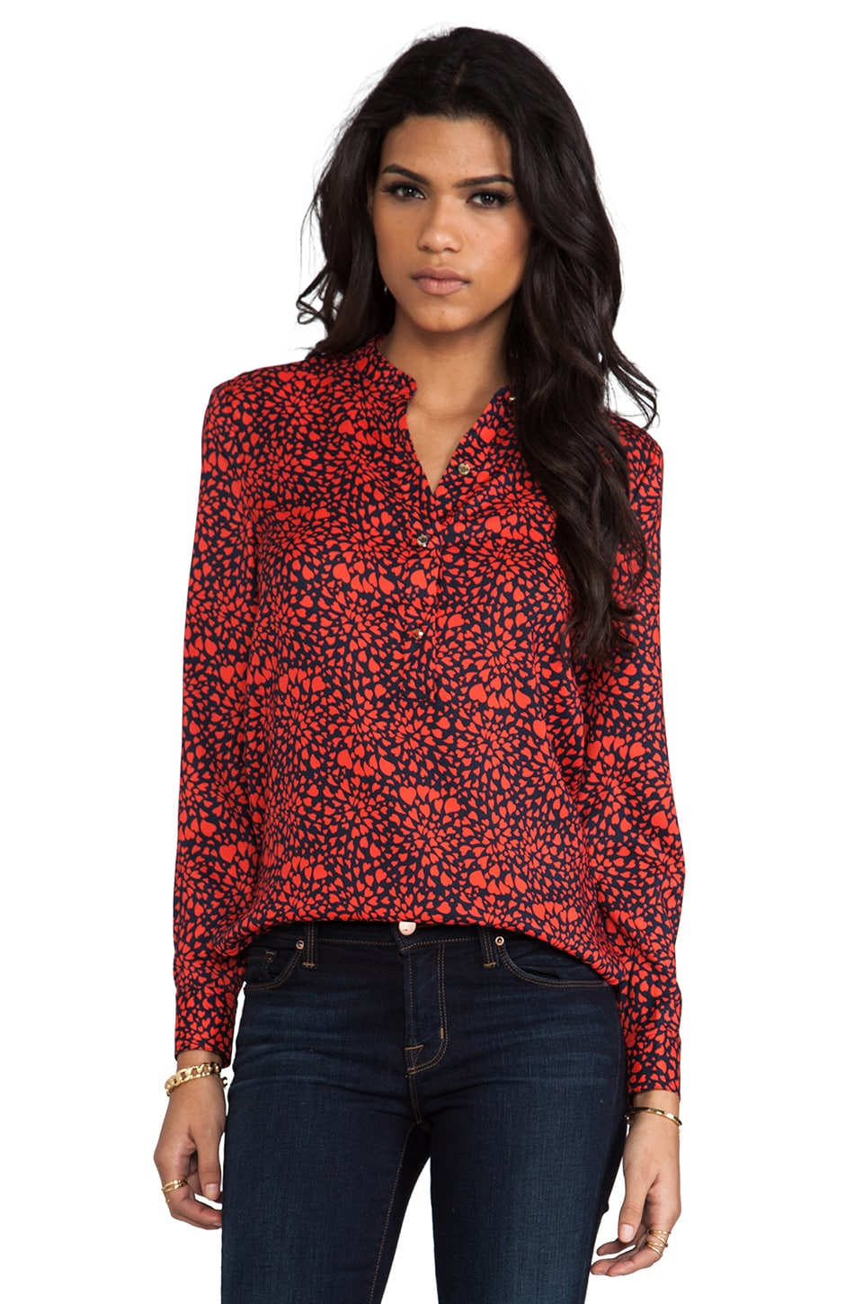 Juicy Couture Printed Satin Shirt in Regal Heart