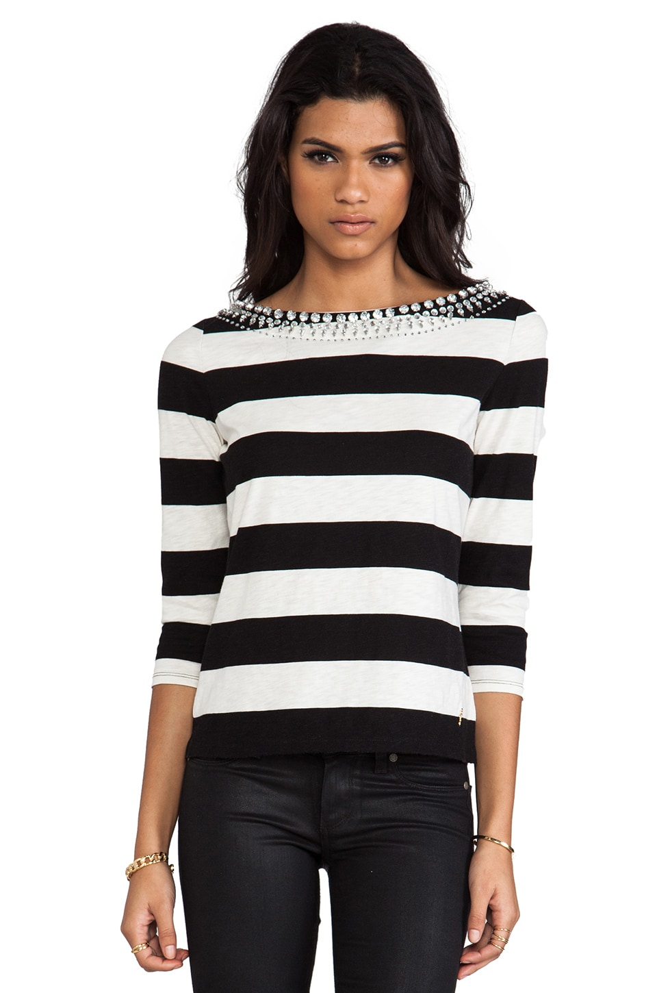 Juicy Couture Sunset Stripe Knit Embellished Tee in Black