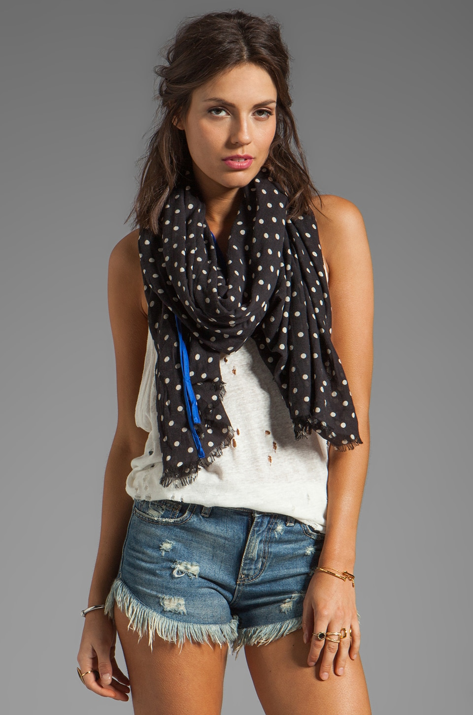 Juicy Couture Glorious Dot Scarf in Black