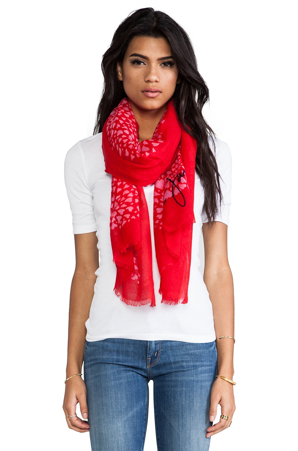 Juicy Couture Heart Swirl Scarf in Red Ginger