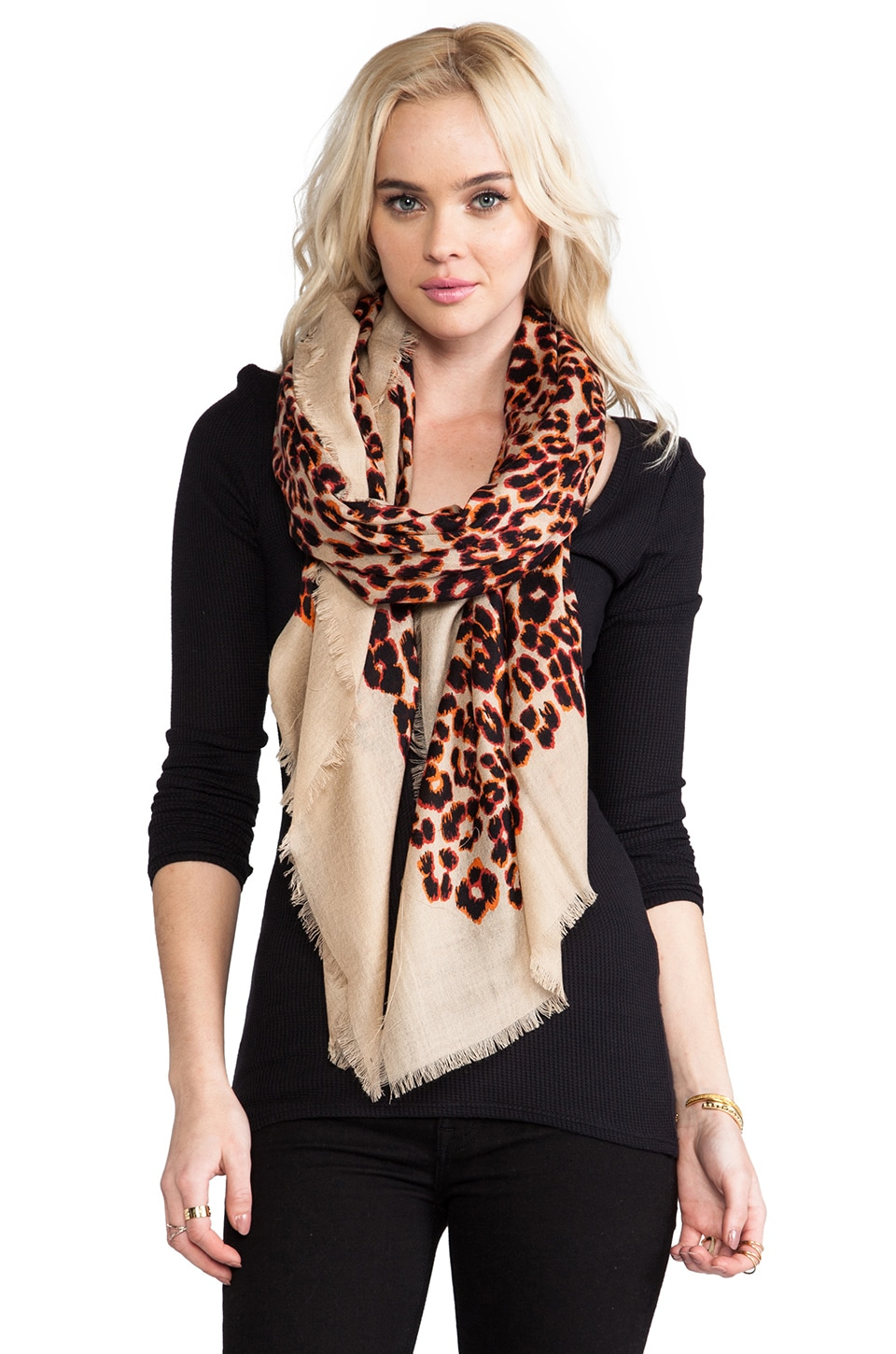 Juicy Couture Leopard Scarf in Neutral Pop
