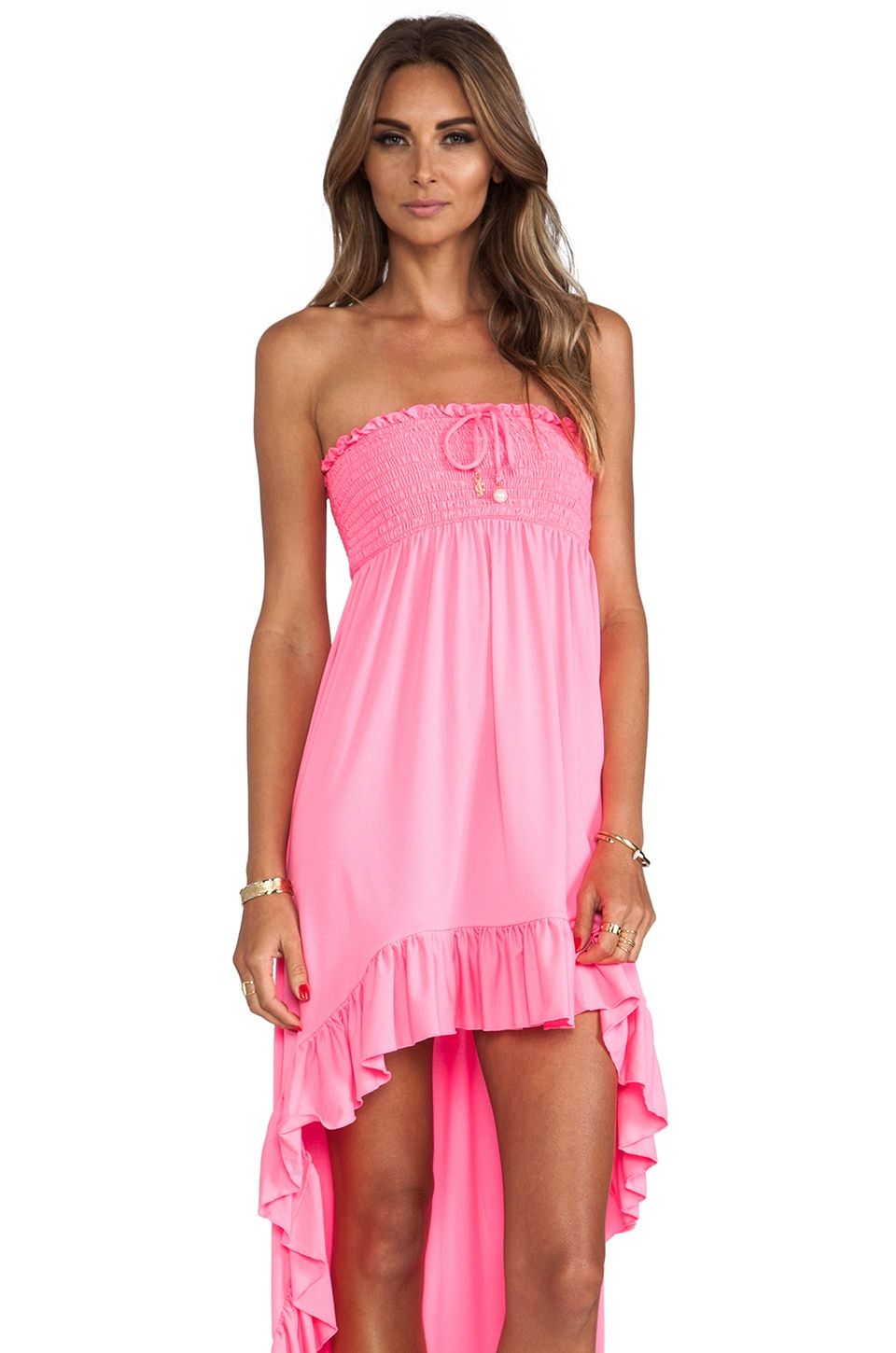 Juicy Couture Bow Chic High-Low Cover Up Dress in Shell Shock