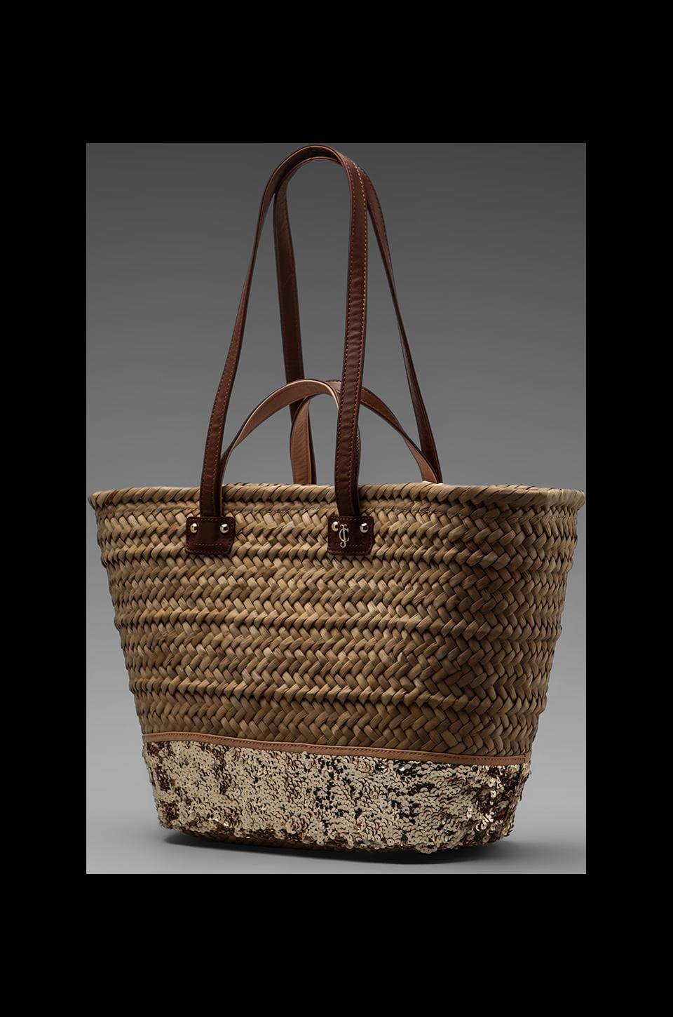 Juicy Couture Malibu Straw and Sequin Beach Tote in Creamsicle/Natural