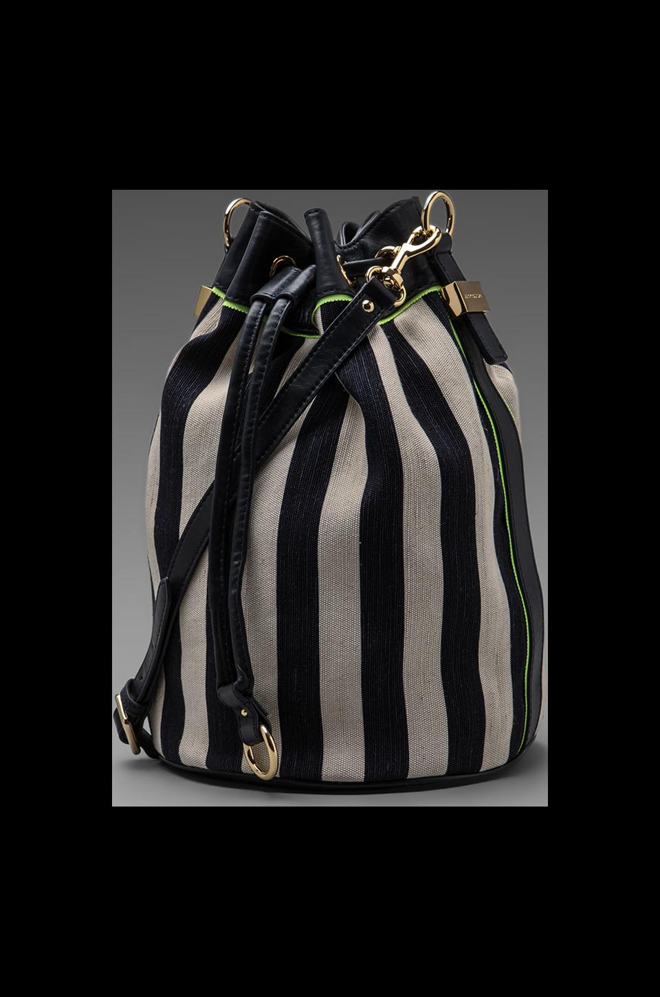 Juicy Couture Willow Canvas Bucket Crossbody in Indigo Stripe