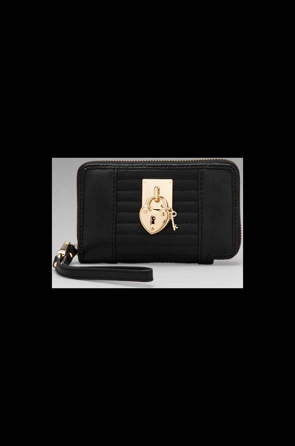 Juicy Couture Signature Leather Tech Wristlet in Black