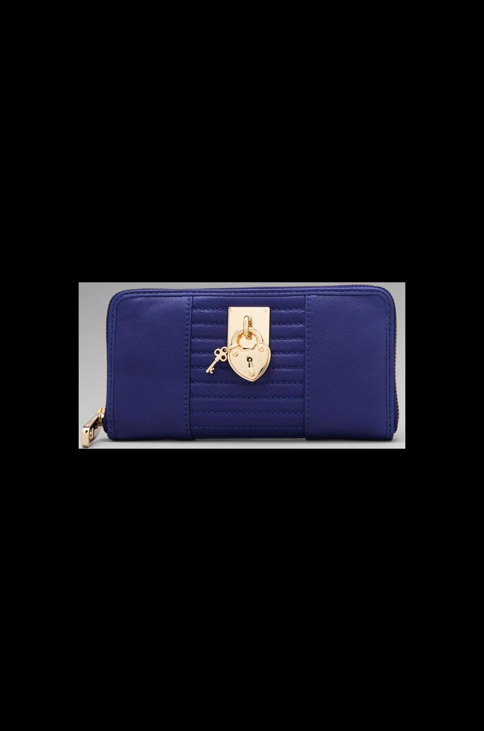 Juicy Couture Signature Leather Zip Wallet in Avery Blue