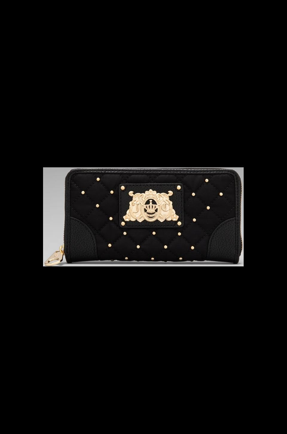 Juicy Couture Ongoing Nylon Quilted/Studded Zip Wallet in Black