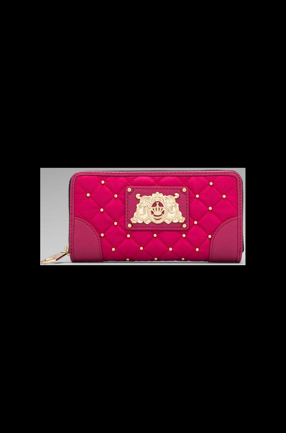 Juicy Couture Ongoing Nylon Quilted/Studded Zip Wallet in Hot Pink