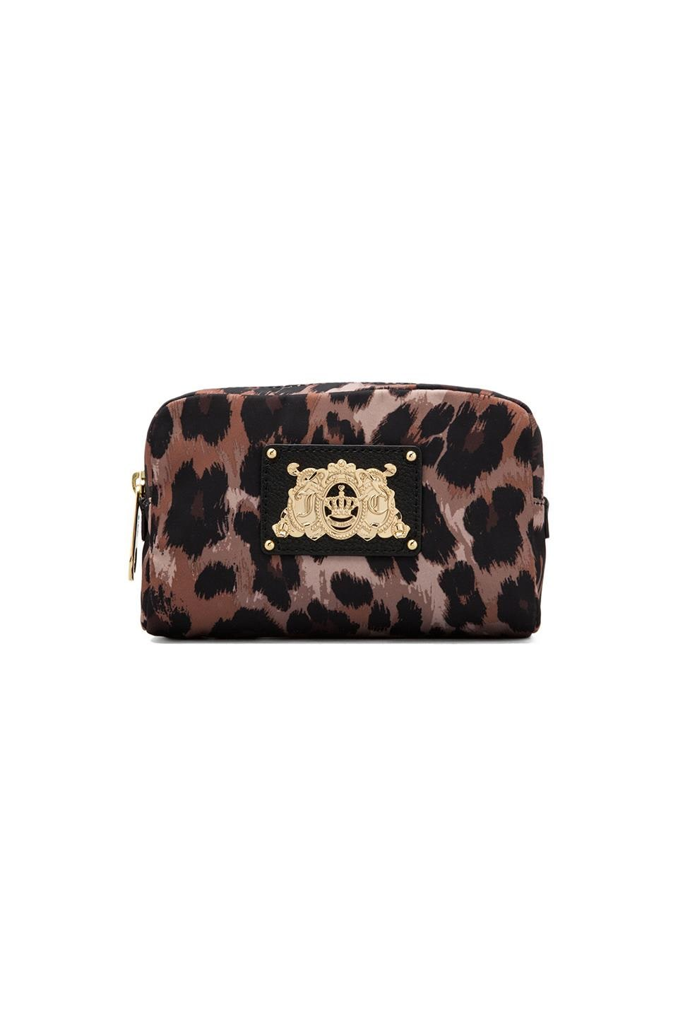 Juicy Couture Ongoing Nylon EZ Cosmetic in Brown Leopard