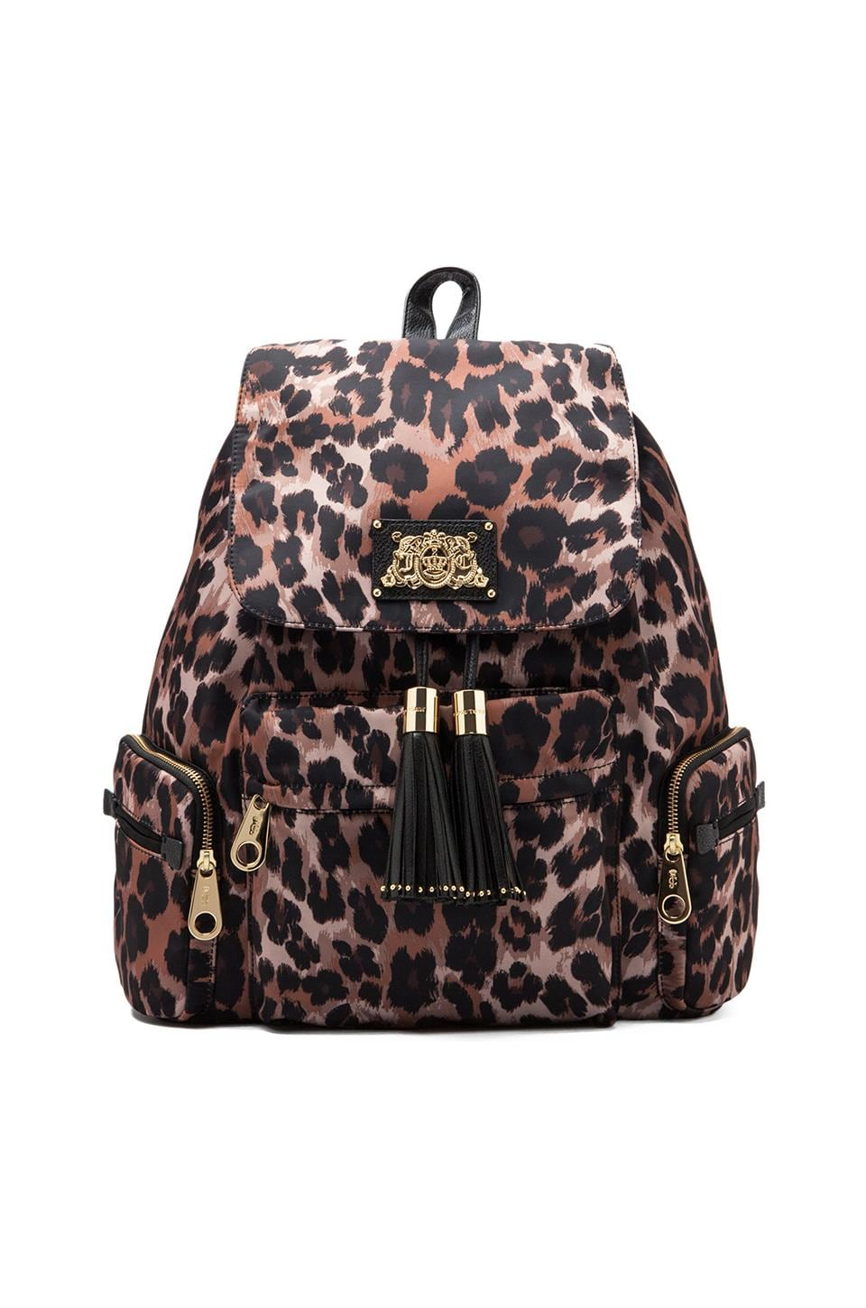 Juicy Couture East Everyday Nylon Backpack in Brown Leopard