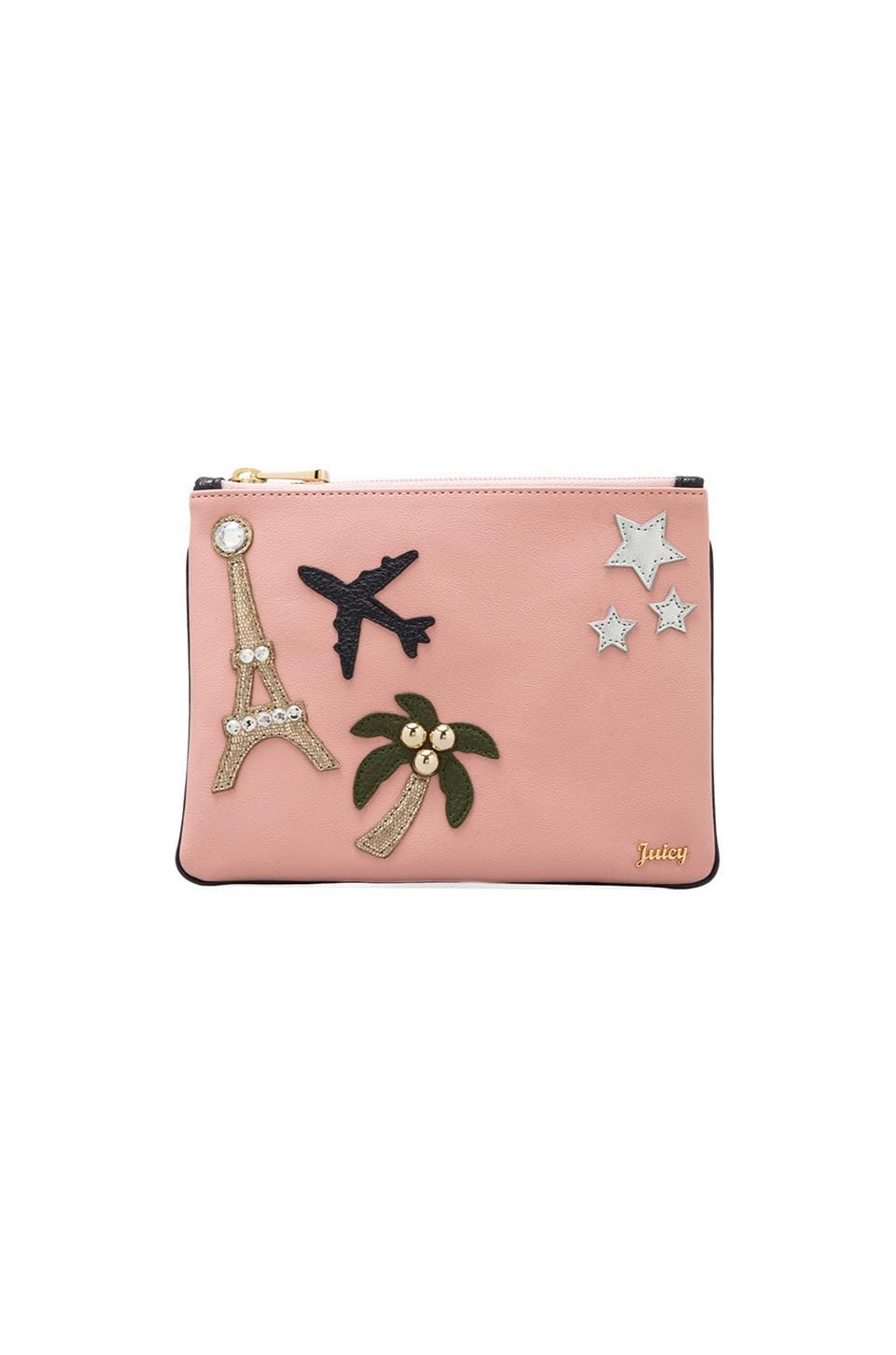 Juicy Couture Glamour Girl Flat Pouch in Light Pink