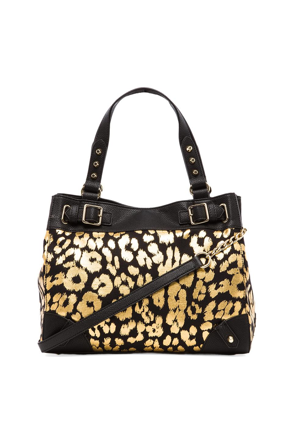 Juicy Couture Beverly Leopard Daydreamer Tote in Black & Gold Leopard