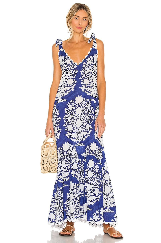 juliet dunn V Neck Maxi Dress in Blue