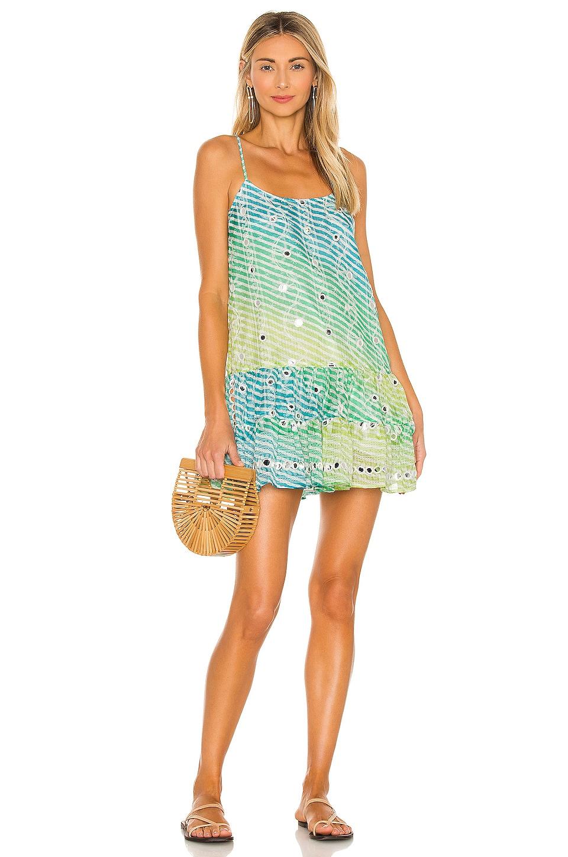 juliet dunn Rainbow Cami Dress in Blue & Green