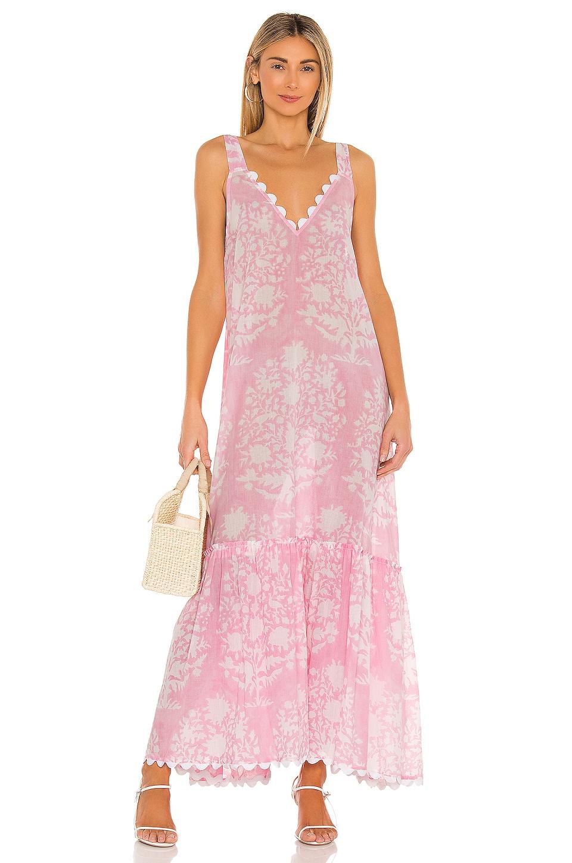 juliet dunn V Neck Maxi Dress in Pastel Pink
