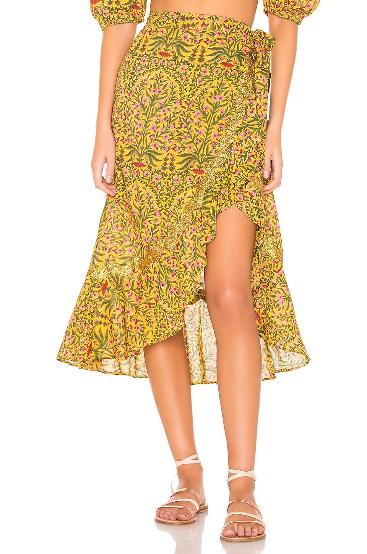 juliet dunn Botanical Wrap Skirt in Mustard