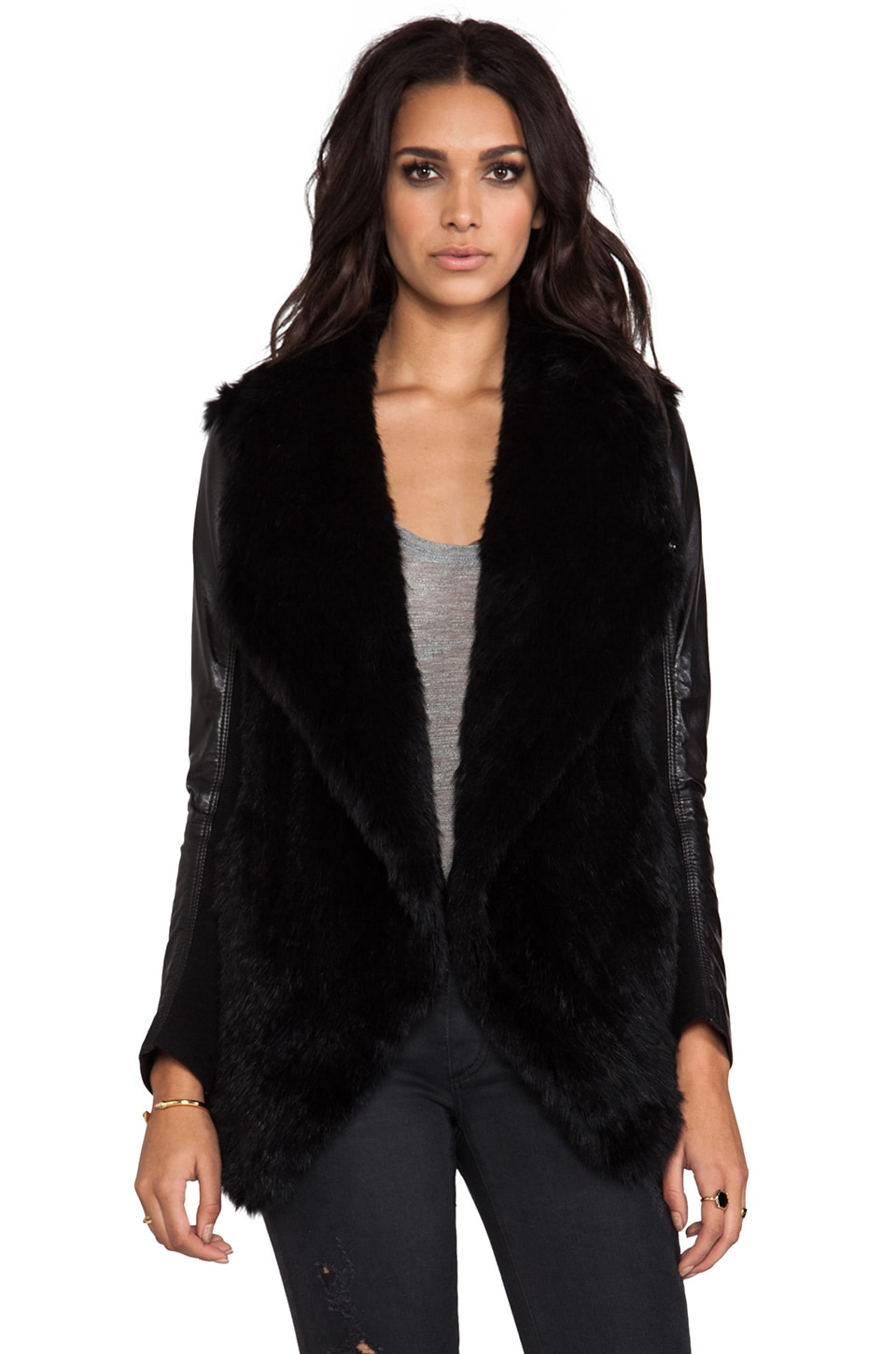 June Knit Fur Jacket With Leather Sleeves in Black