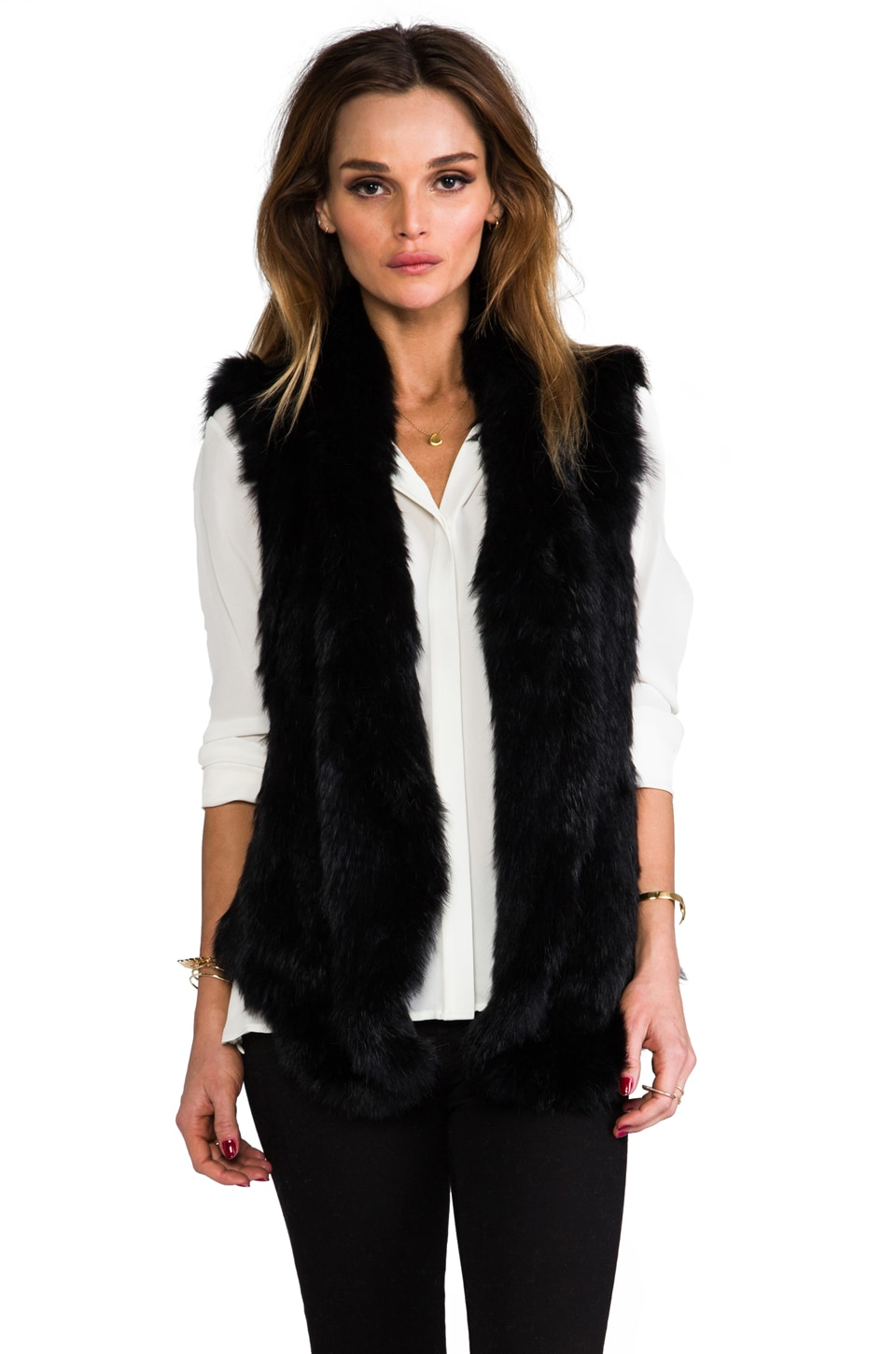 June Knit Fur Long Vest in Black