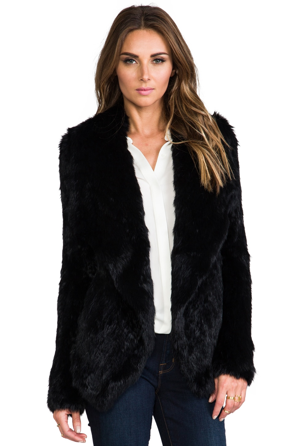 June Fur Jacket in Black