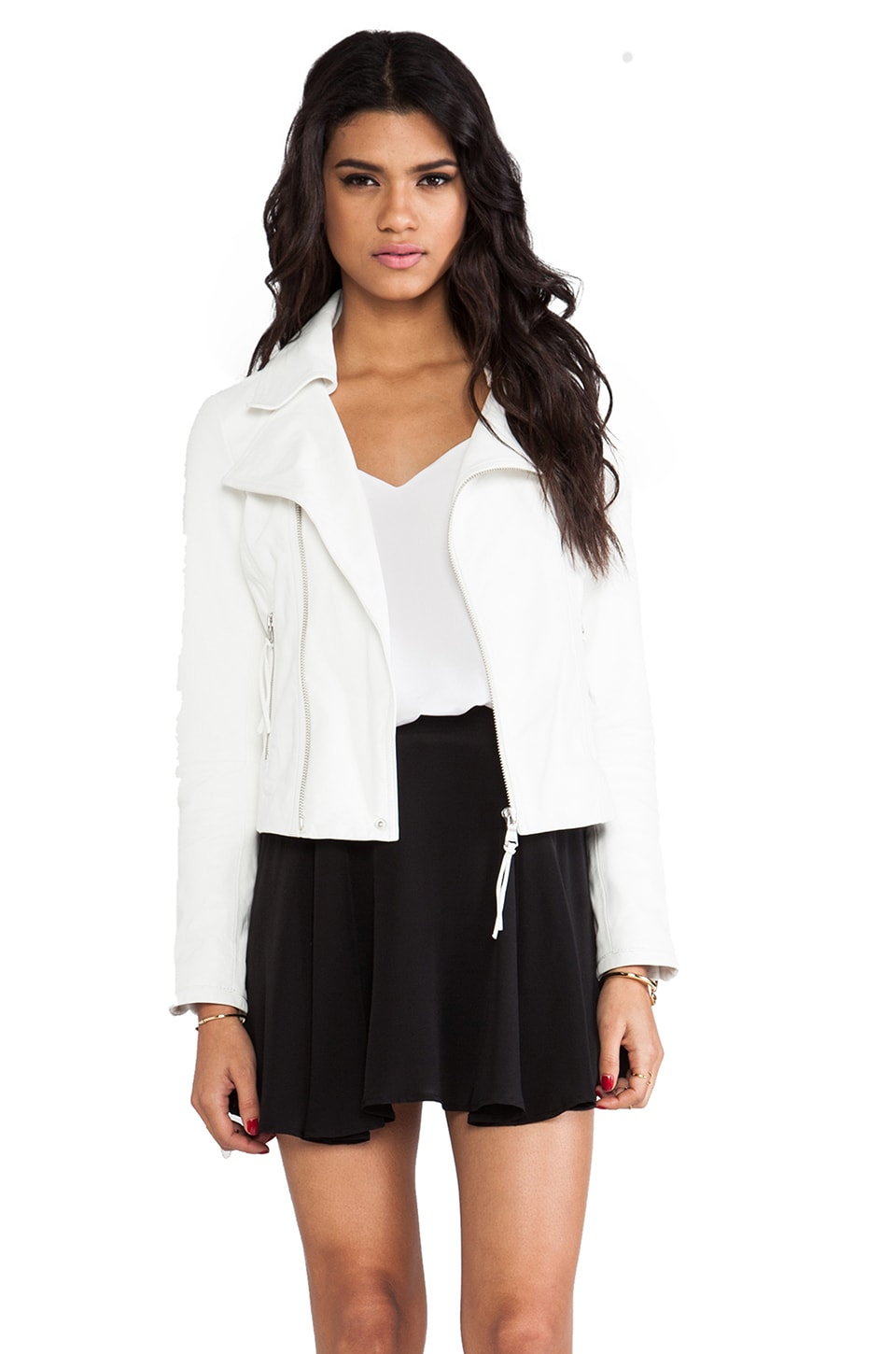June Leather Moto Jacket in White