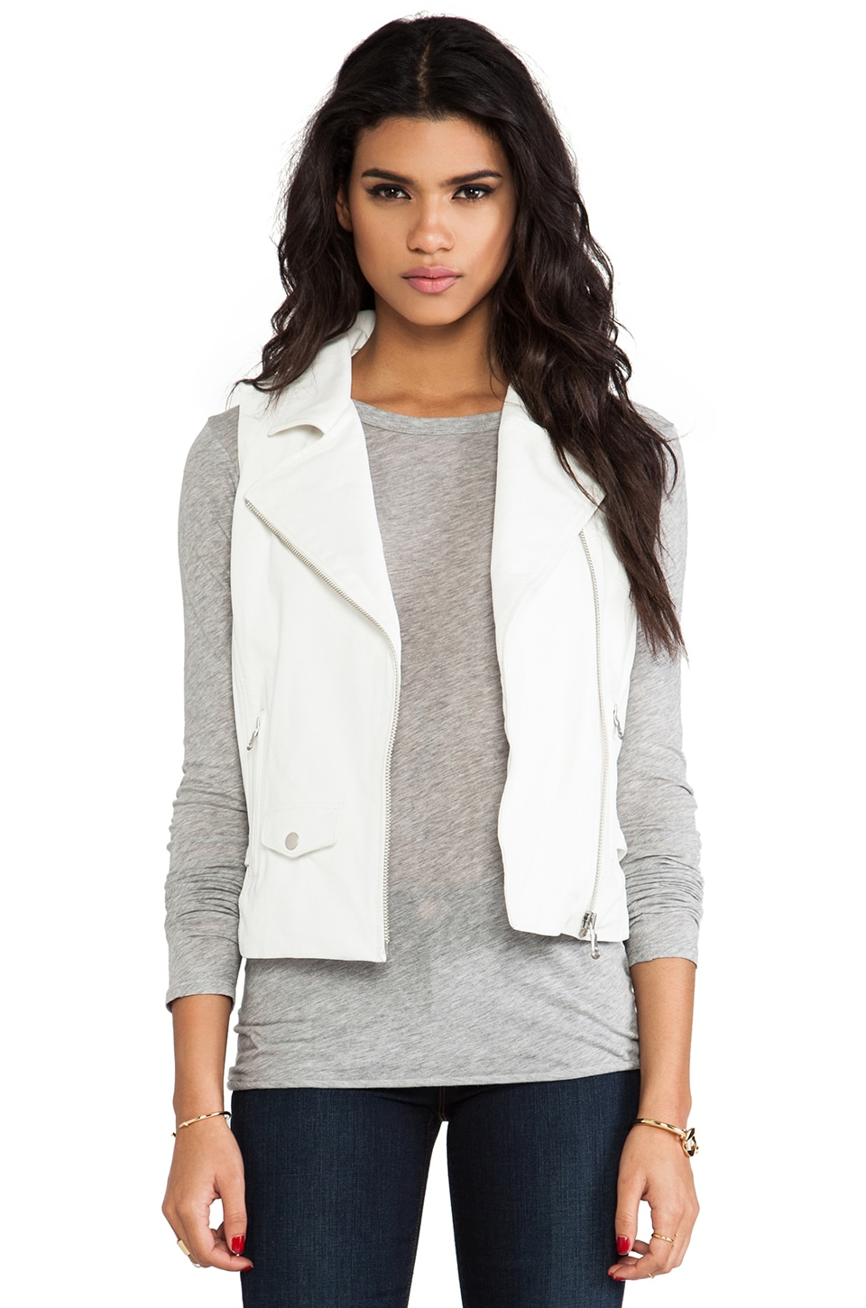 June Leather Moto Vest in White