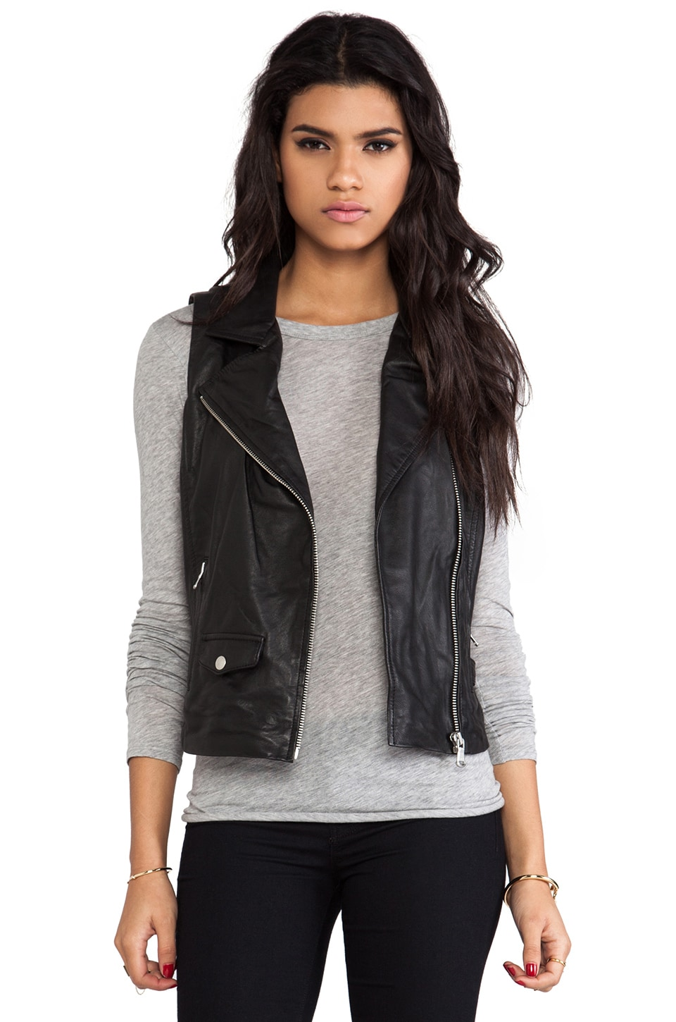 June Leather Moto Vest in Black