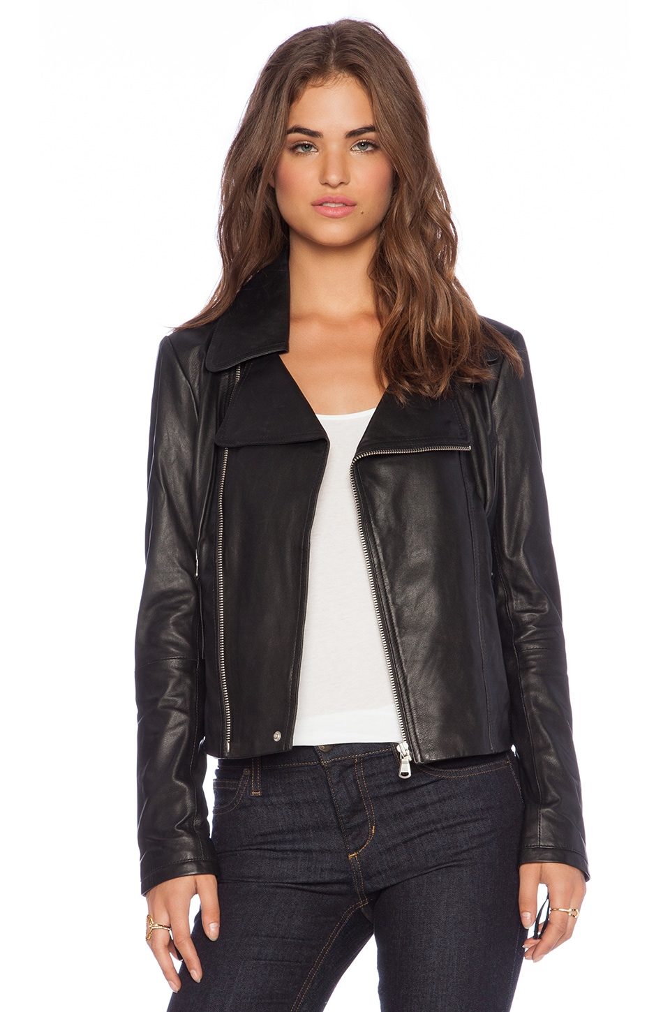 0e3385f5f95677 June Cropped Leather Moto Jacket in Black