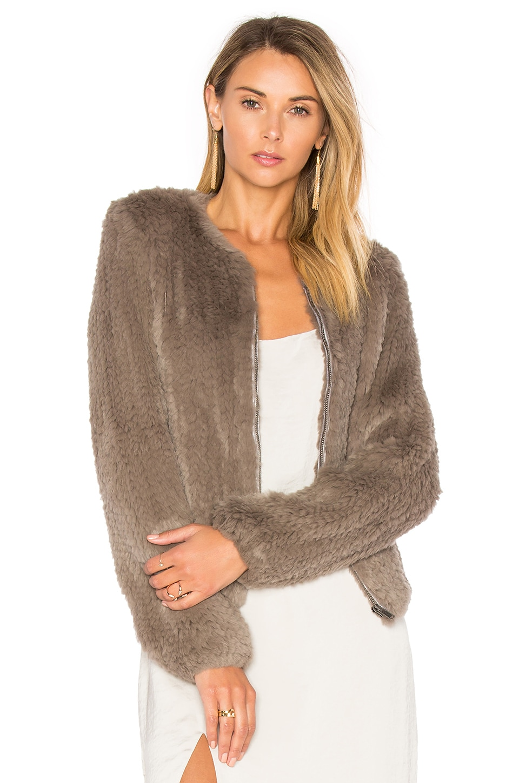 Zip Dyed Rabbit Fur Jacket by June