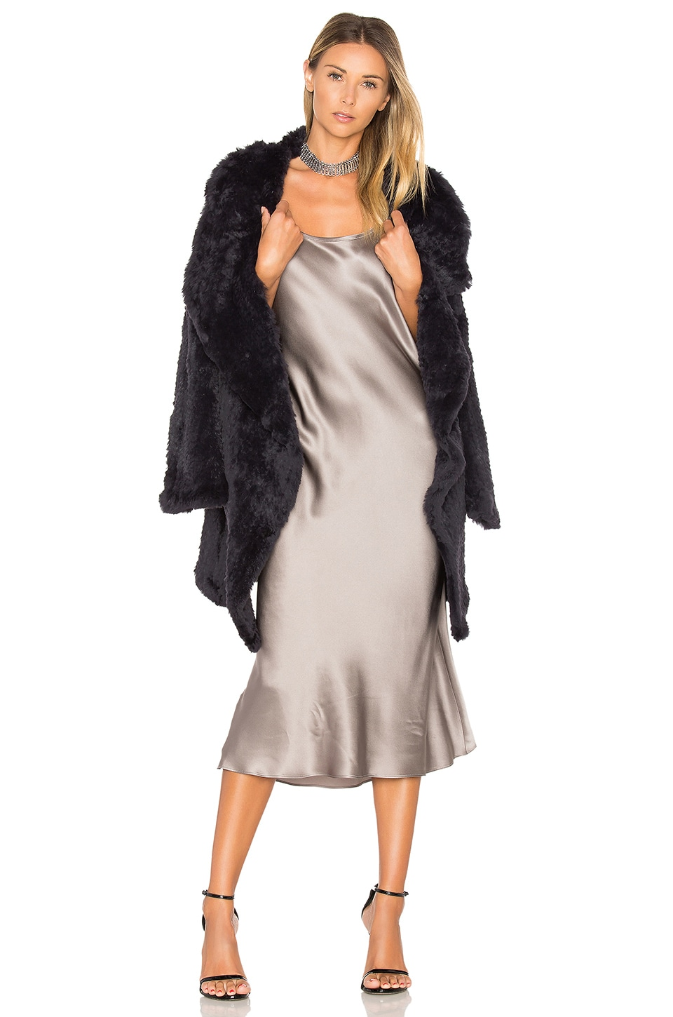 June Flair Sleeve Long Rabbit Fur Jacket in Midnight