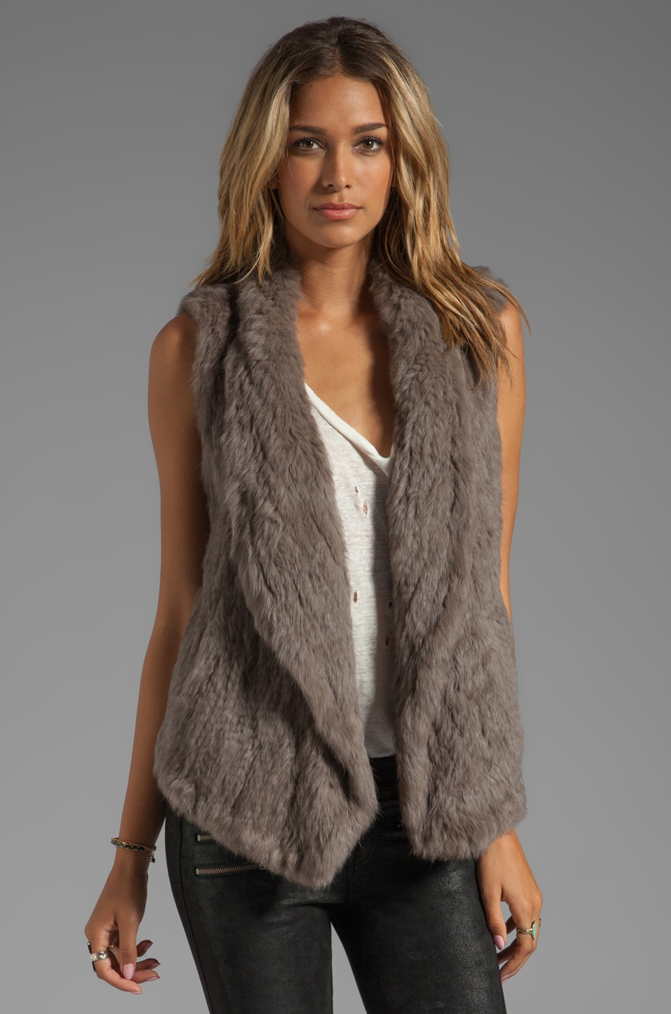 June Knit Fur Long Vest in Walnut