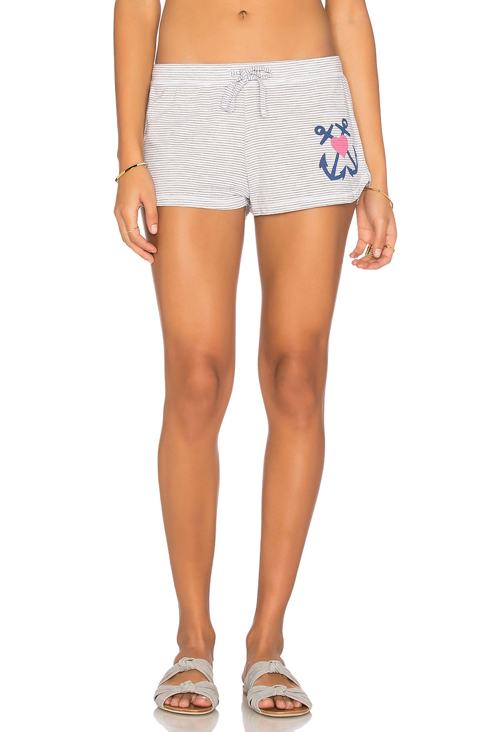 Junk Food Anchor Heart Short in White & Grey