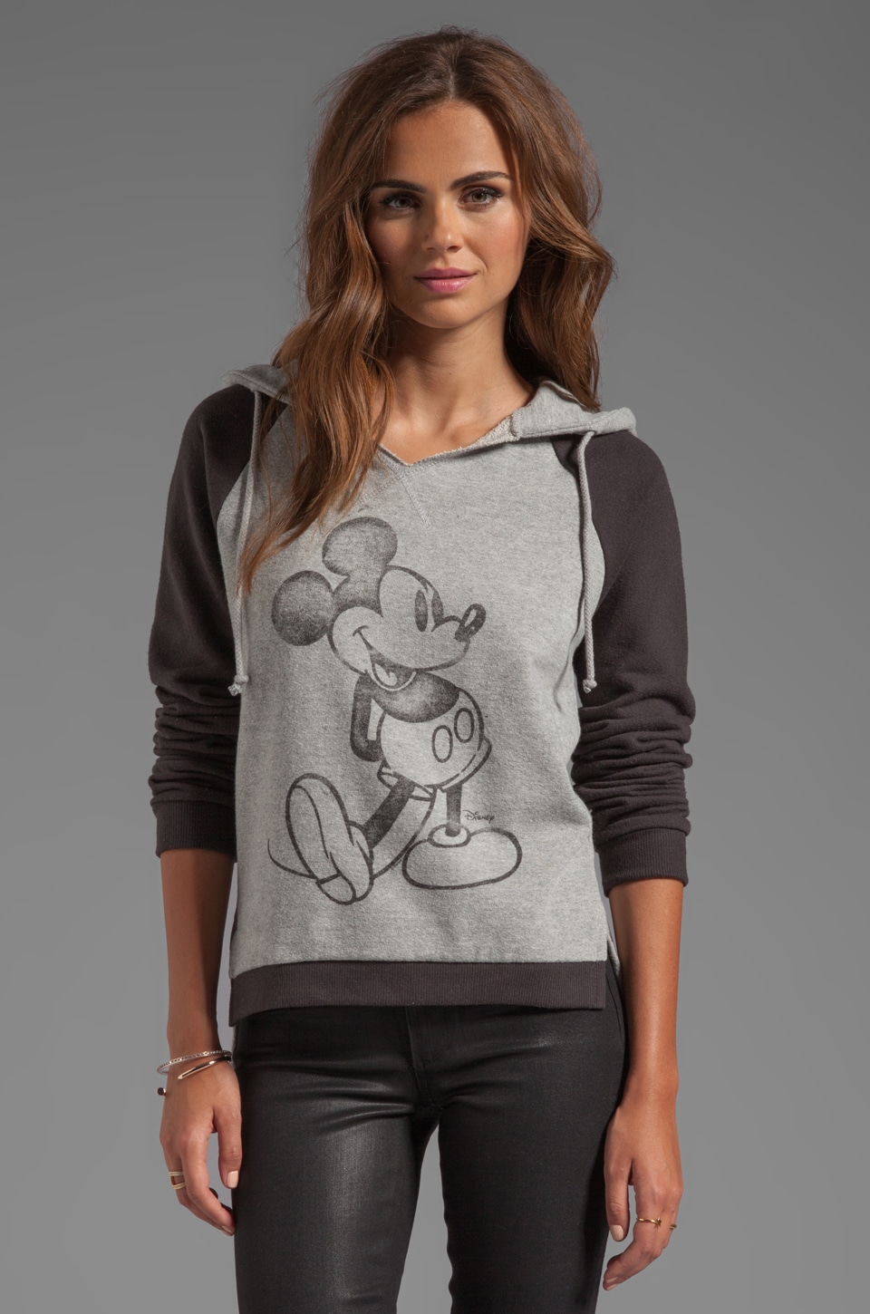 Junk Food Seattle Mickey Hoodie in Stone Heather/Black