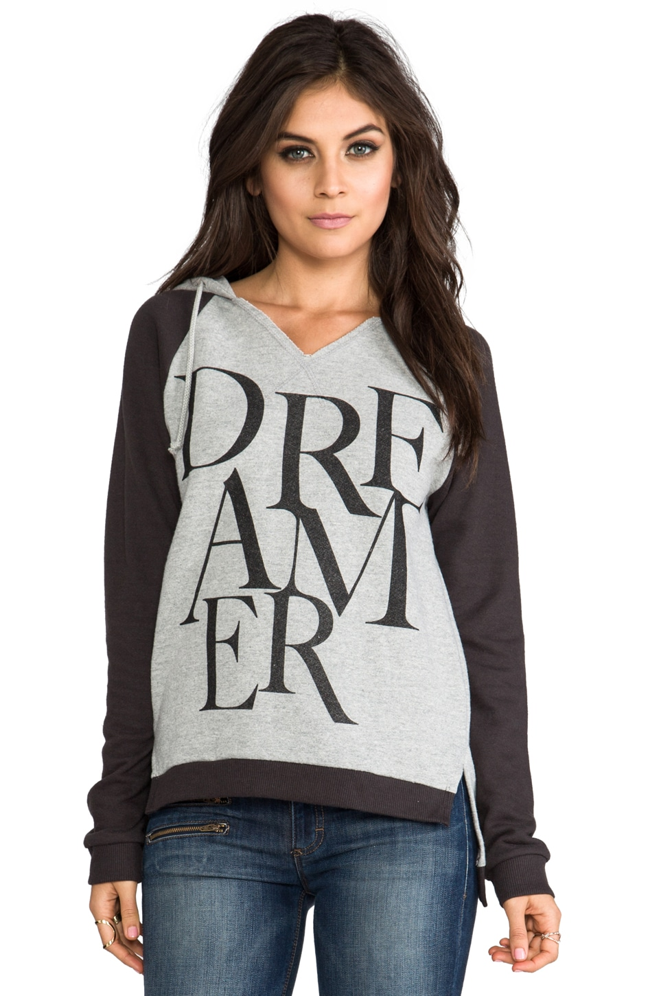 Junk Food Dreamer Hoodie in Stone Heather/Black Wash