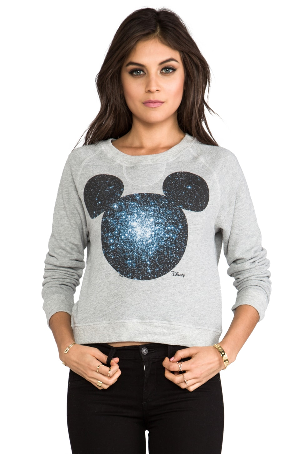 Junk Food Mickey Prep School Pullover in Stone Heather