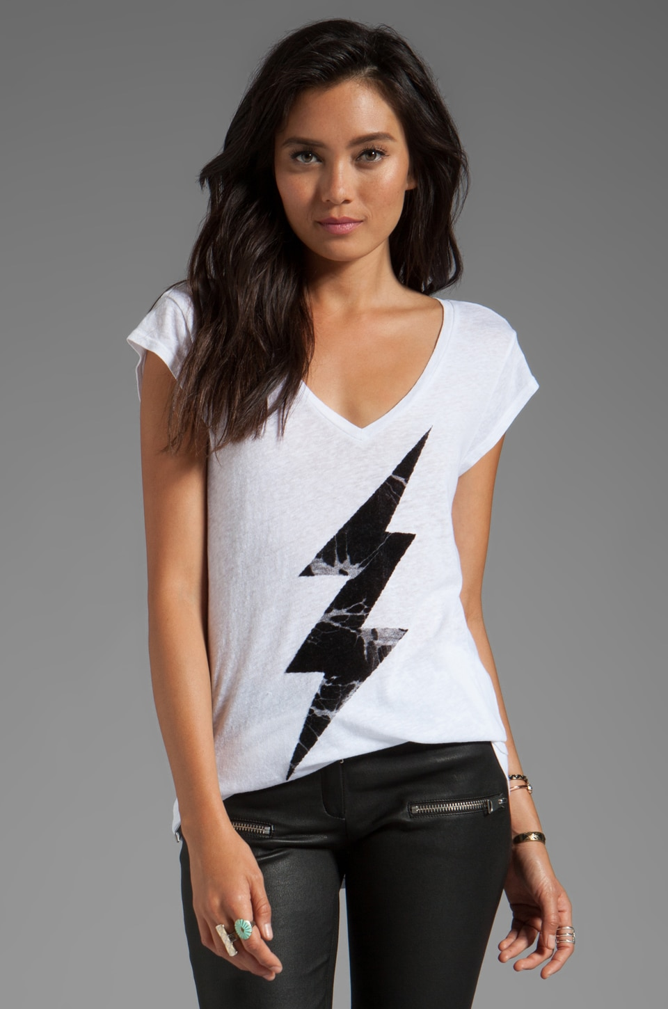 Junk Food Underground V-Neck Tunic in Electric White
