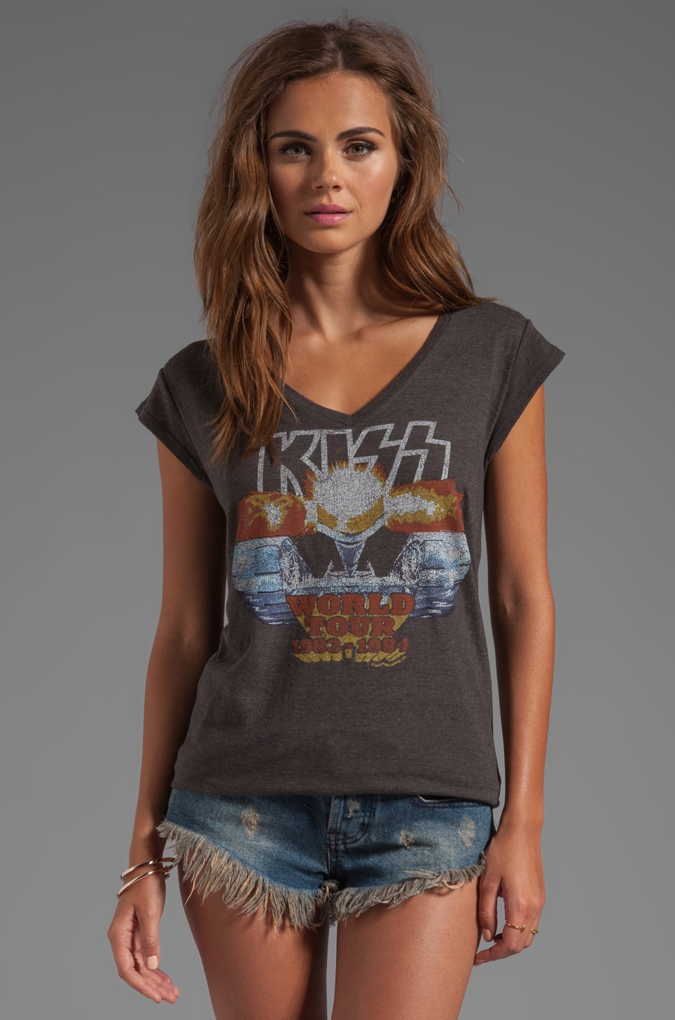 Junk Food KISS Underground V-Neck Tunic in Black